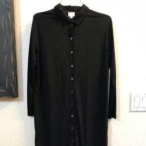 Anthro black button down collared tunic